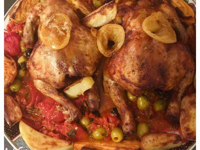 Gegrilde kip met een paprika/olijven saus