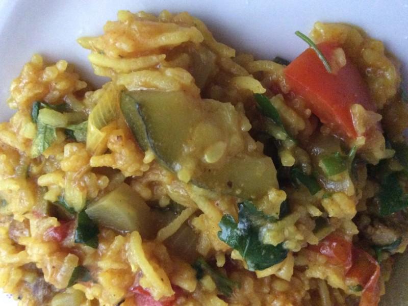 Groente rijst met lamsvlees