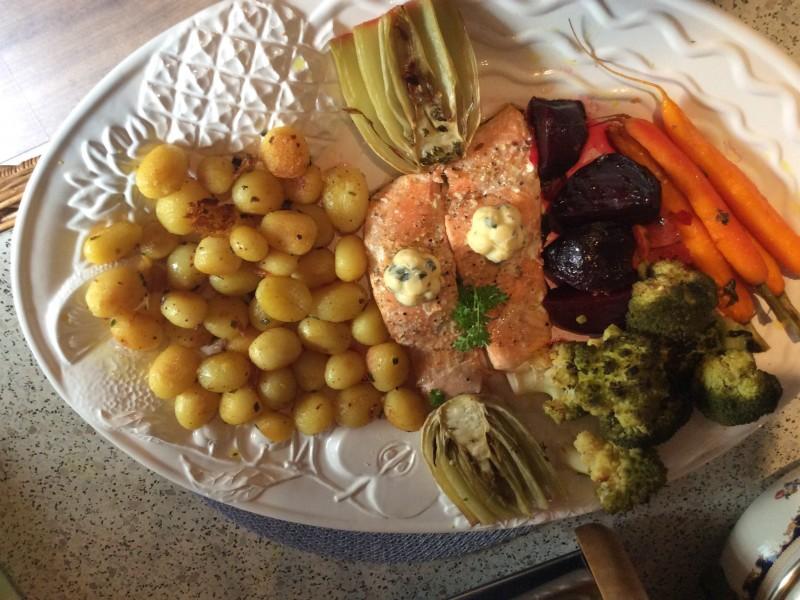 Gegrilde groentes met een honing orange blossem water…