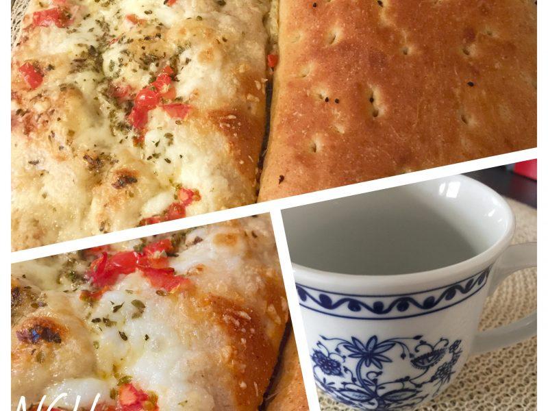Pizzabrood met en zonder beleg