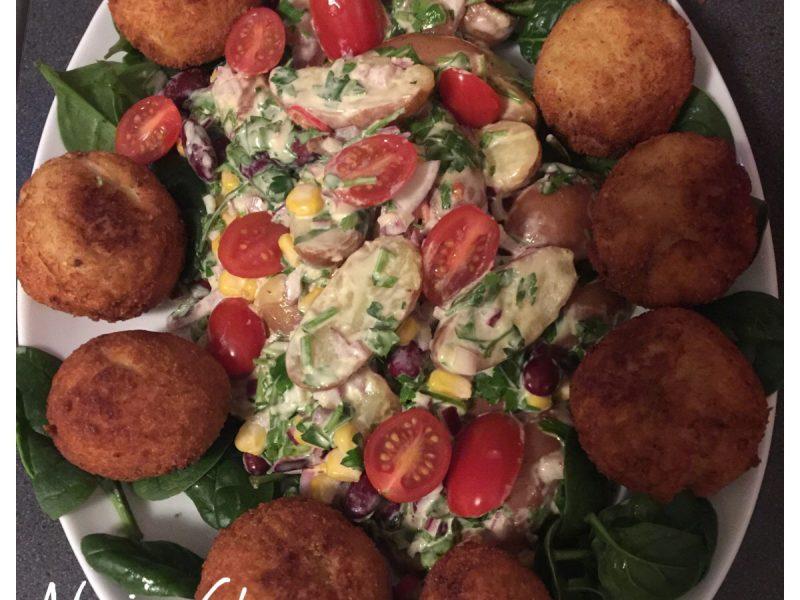 Warme aardappel/groentesalade
