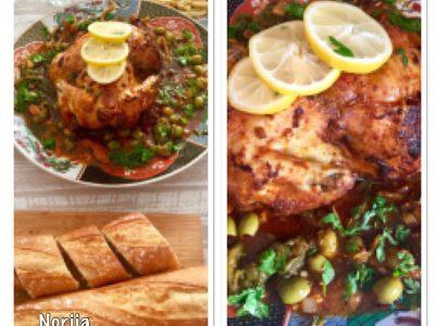 Gegrild kip met een olijven, paprika aubergine saus