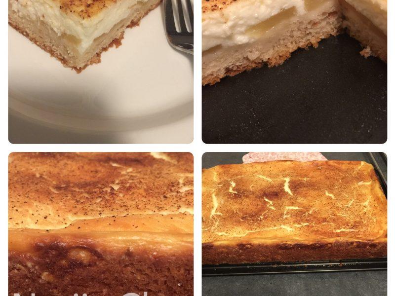 Platcake met appel/ kwark vulling..